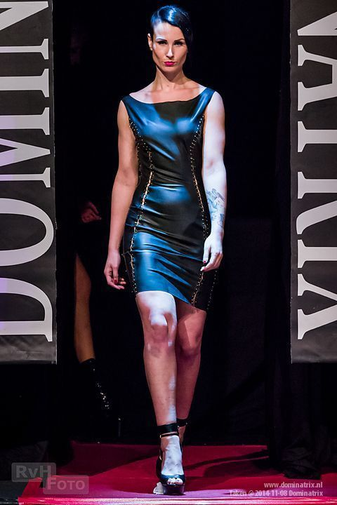 Safety pin dress at the Dominatrix show.