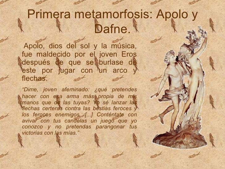 No 2 - Primera metamorfosis: Apolo y  Dafne.  Apolo, dios del sol y la música,fue maldecido por el joven Erosdespués de...