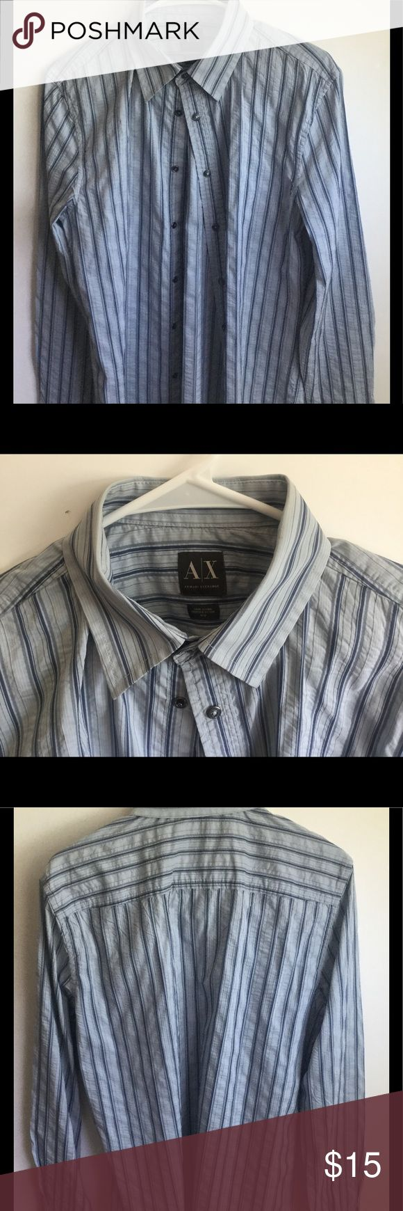 AIX Armani Exchange Men's Shirt Long sleeve Armani Exchange men's shirt.  Gently pre-loved. This shirt has the crinkled look with snap buttons. Great casual shirt with jeans. Armani Exchange Shirts Casual Button Down Shirts