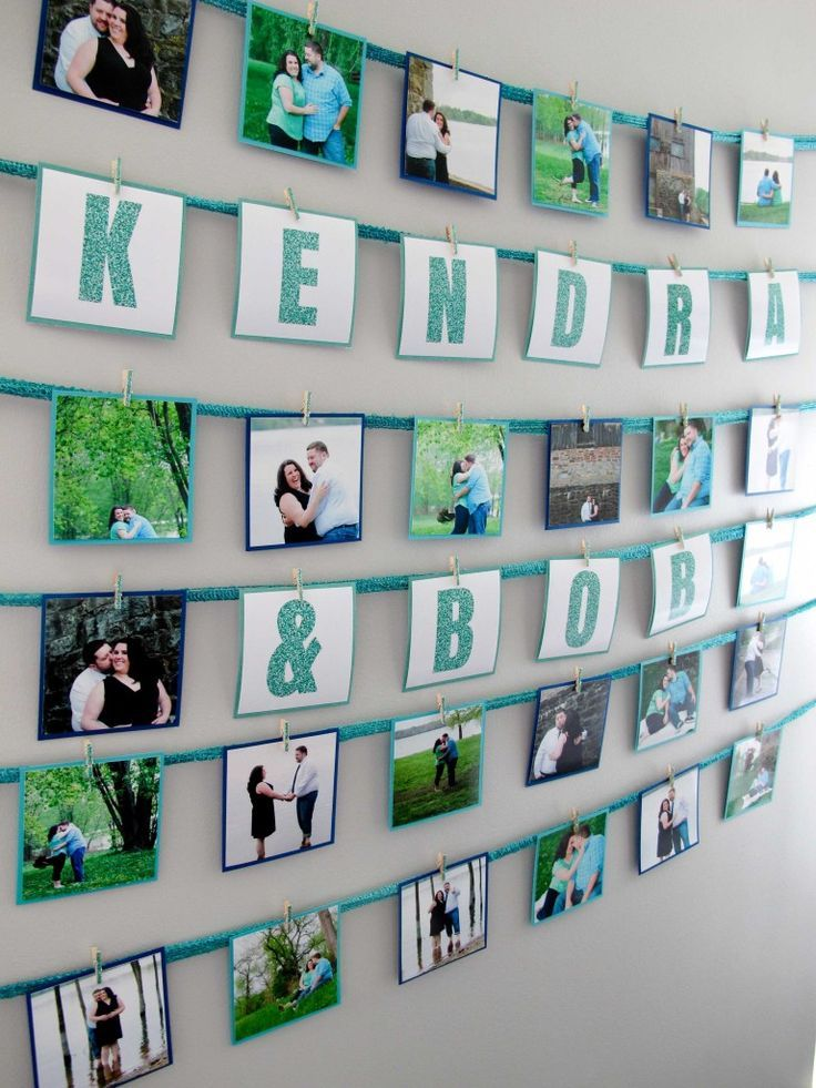 Instagram Party Banner using photos from the couple's Engagement Photos at a Teal and Sparkle Bridal Shower, Ideas via 11cupcakes