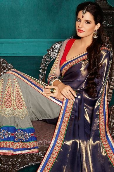 Dark Sapphire Blue and Silver Gray Satin and Jacquard Festival Saree http://www.shopcost.in/saree