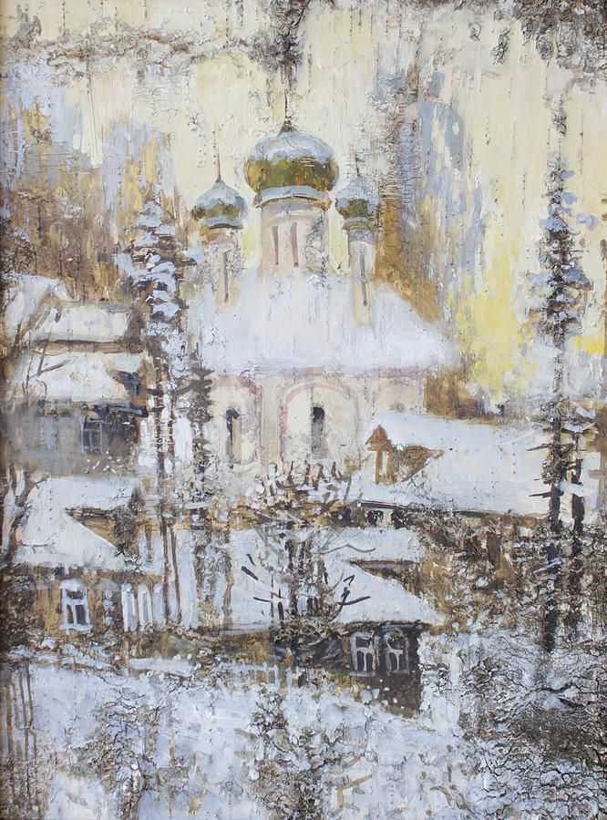 Russia Painting - Cathedral Over The Snowy Village by Ilya Kondrashov  #RussianArtistsNewWave #OriginalArtForSale  #OriginalPainting #IlyaKondrashov #Village #Church #Orthodox #PaintingonBirchBark #Russia #Painting #HomeDecor
