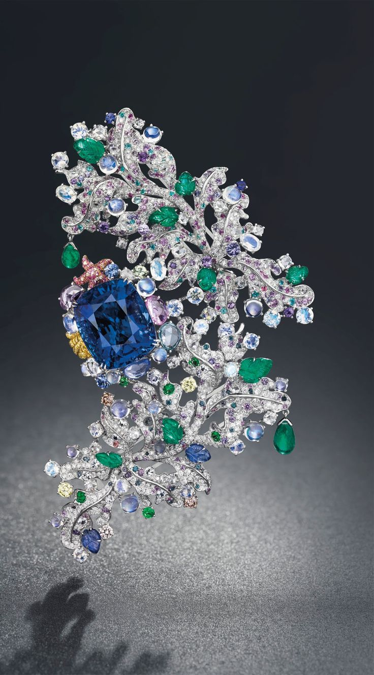 This Anna Hu Cote D'Azur brooch, set with a 58.39ct sapphire, is set to be auctioned at Christie's autumn sale in Geneva on 12 November...