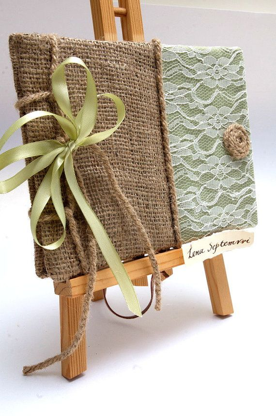 Guest Book with Burlap   Traditional Retro by LenaSeptemvri, $35.00