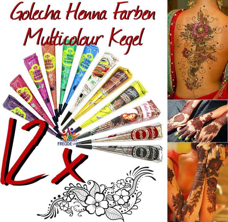 12x Golecha Henna Farben/Multicolour Kegel á 25g Hennapaste - Klinisch getestet!