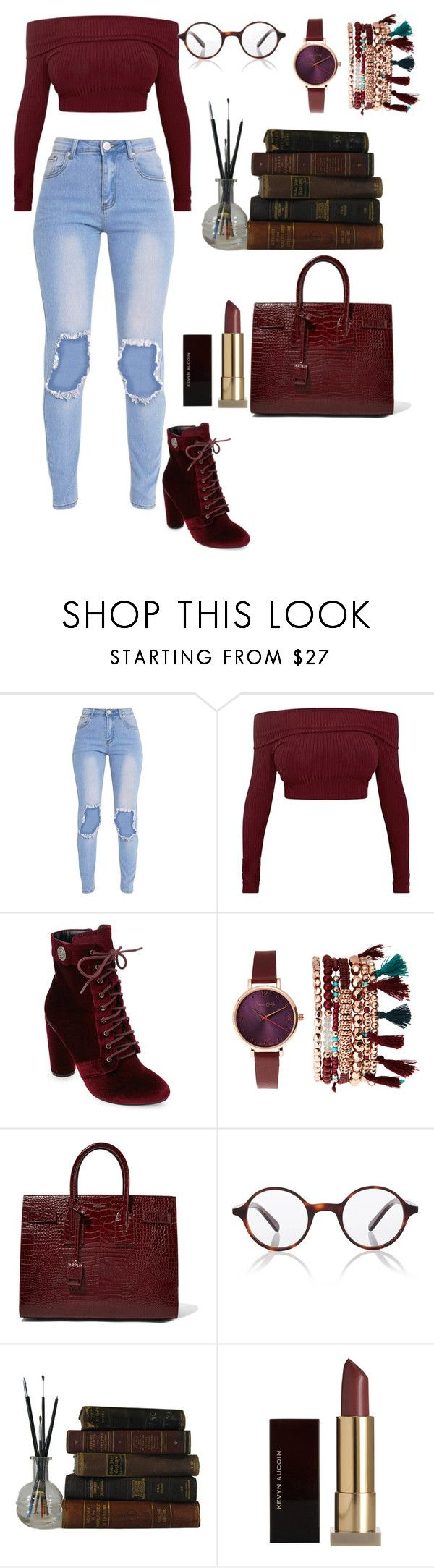 """""""burgundy 💕"""" by tessa-cassie ❤ liked on Polyvore featuring Catherine Catherine Malandrino, Jessica Carlyle, Yves Saint Laurent, Finlay & Co. and Kevyn Aucoin"""