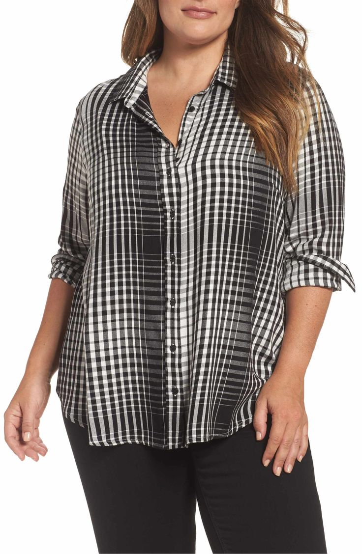 Main Image - Melissa McCarthy Seven7 Plaid Side Split Shirt (Plus Size)