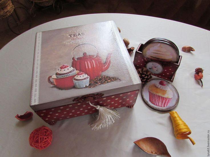 """Купить Набор для чая """"Время пить чай"""" - ярко-красный, набор для кухни, набор для чаепития"""