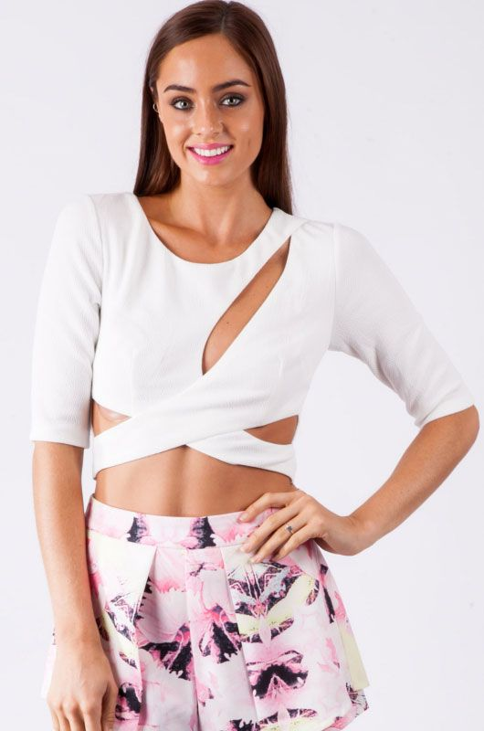 White Cut Out Front Cross Top