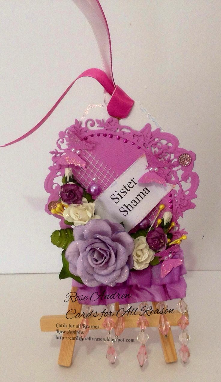 Die cut Tag with lace, pearls, large purple rose and paper flowers with name and butterflies with pearls Custom order for a customer