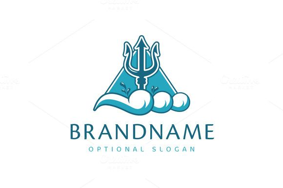 For sale. Only $29 - wave, ocean, water, strong, sport, swimming, power, team, drop, sea, triangle, god, ancient, storm, flood, weapon, tide, pinnacle, swash, foam, trident, Poseidon, titan, Neptune, Triton, liquid, fluid, tidal, triple, three, cleaning, logo, design, template,