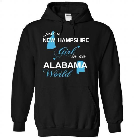 (NHJustXanh001) Just A New Hampshire Girl In A Alabama  - #checked shirt #grey shirt. PURCHASE NOW => https://www.sunfrog.com/Valentines/-28NHJustXanh001-29-Just-A-New-Hampshire-Girl-In-A-Alabama-World-Black-Hoodie.html?68278