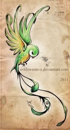 quetzal -- Guatemalan bird -- would be gorgeous with black outline and watercolor