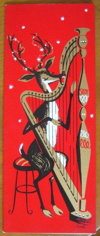 Vtg 1950s Country Cousin Lake Placid Christmas Card singing reindeer harp unused  | eBay