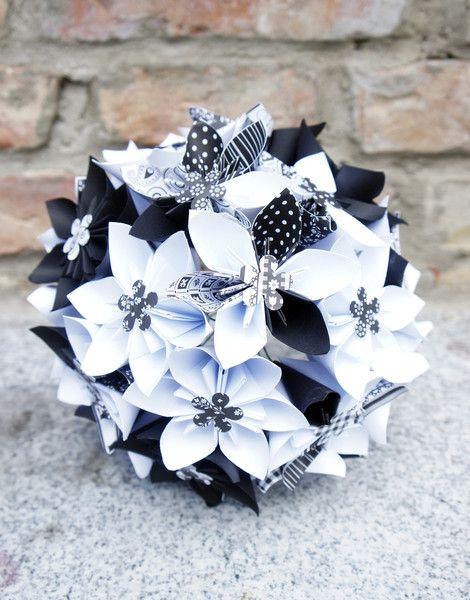 """Accessoires - Brautstrauß Blumenstrauß """"Schwarz Weiß"""" - ein Designerstück von Papier-Traeume bei DaWanda"""