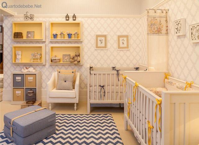 Enxoval bebê trigêmeos azul amarelo