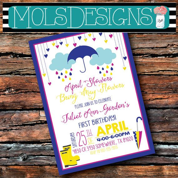 Any Color APRIL SHOWERS Birthday 1st Sprinkle Having One More Bring May Flowers Umbrella Rain Clouds Baby Shower Bbq Barbecue  Invitation
