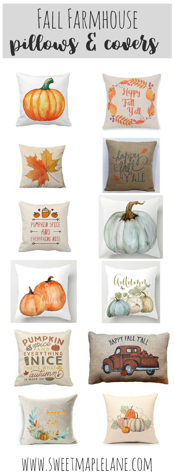 Check out these farmhouse fall pillows and pillow covers!