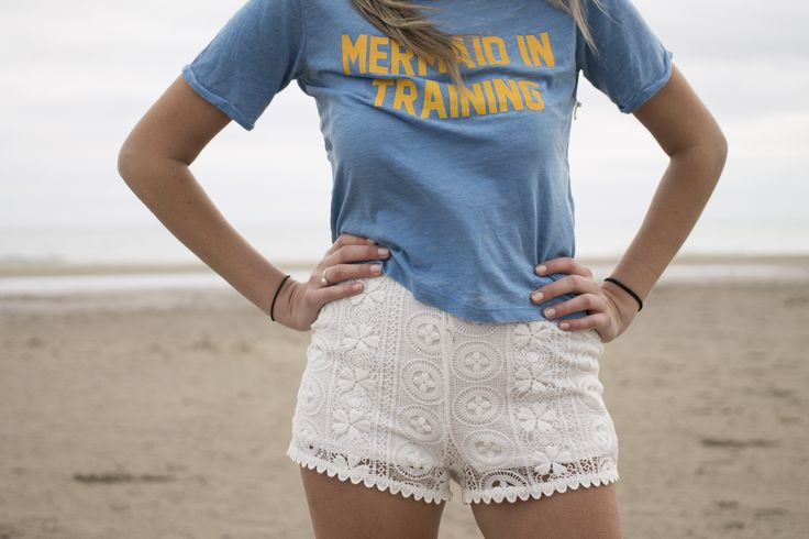 Crochet White Shorts. Beach photoshoot for new Spring inventory