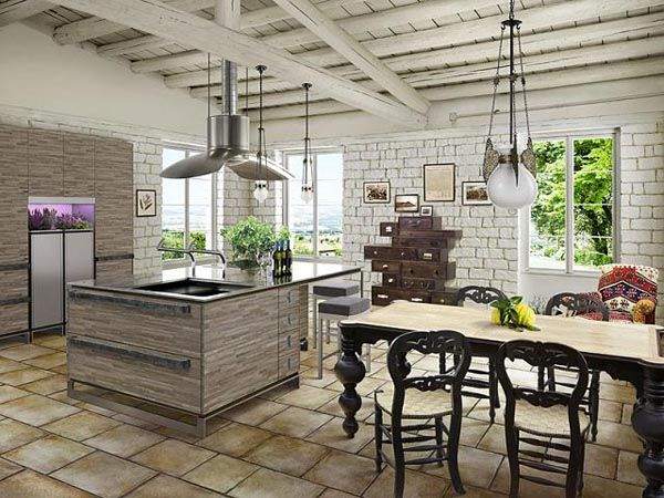 Delightful Hipster Kitchen With Brick Wall Design And Wrought Iron Furnishing. Part 13