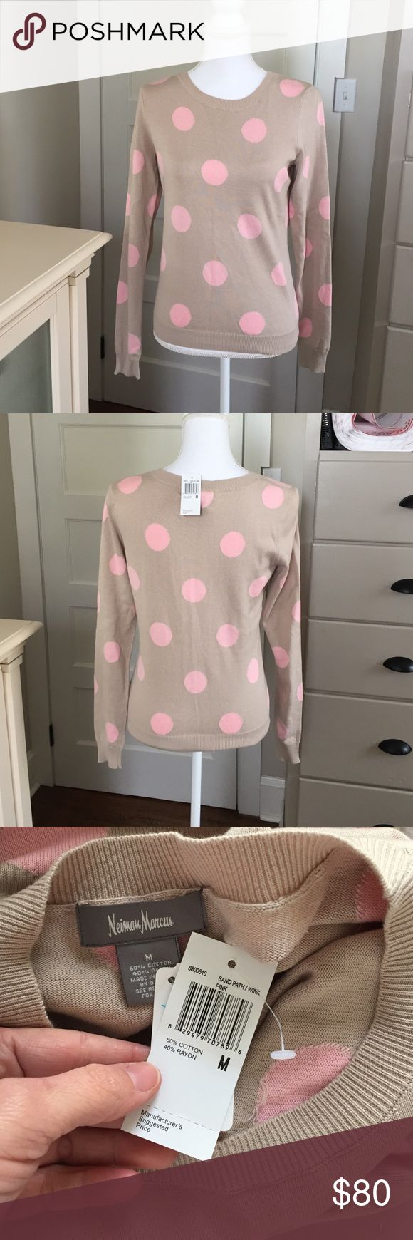 NWT Neiman Marcus Medium polka dot top NWT Neiman Marcus Medium polka dot top. Tan body with light pink polkadots!! Absolutely adorable. Supersweet comfy and flirty!!  Definitely runs small so that is the only reason I'm selling it!!!  I am usually a medium but this is definitely more of an extra small or small😊 Neiman Marcus Tops