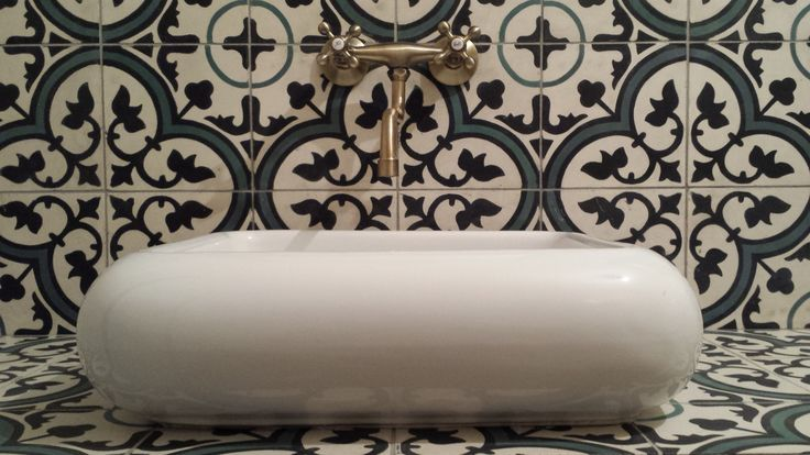our yamia cement tiles with a stylish sink