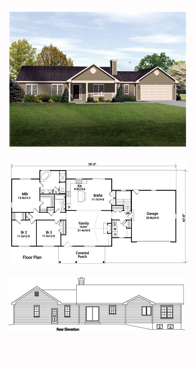Ranch House Plan 49189 | Total Living Area: 1789 sq. ft., 3 bedrooms and 2 bathrooms. A charming covered front porch welcomes all who enter this lovely ranch home. Fashioned with a budget conscious design, this single-story is just right for a family starting out. #ranchhome