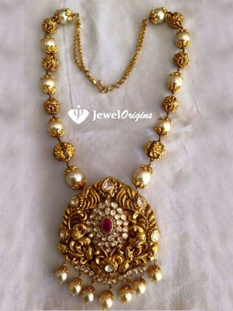 jewelorigins.com-Indian Designer Gold and Diamond Jewellery,Indian Bridal Jewellery: Gold Ball Necklace.
