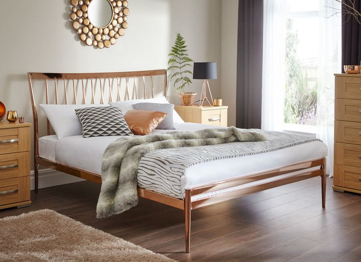 Introducing our first ever copper plated bed. With a high and detailed headboard and slightly tapered feet, this elegant but modern bed is perfect for those wanting a bedroom with a statement.
