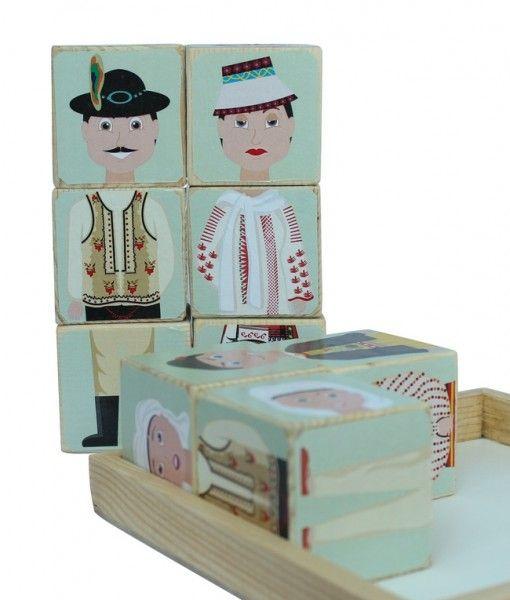 Puzzle cuburi lemn