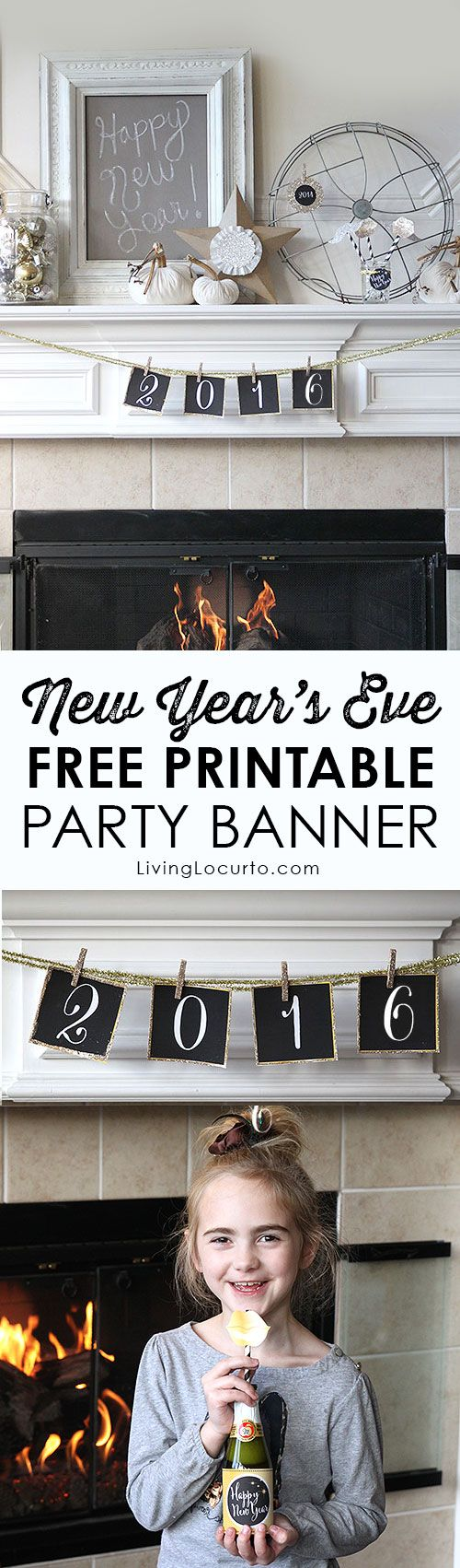 Free Printable 2016 New Year's Eve Party Banner! Chalkboard with white lettering. LivingLocurto.com