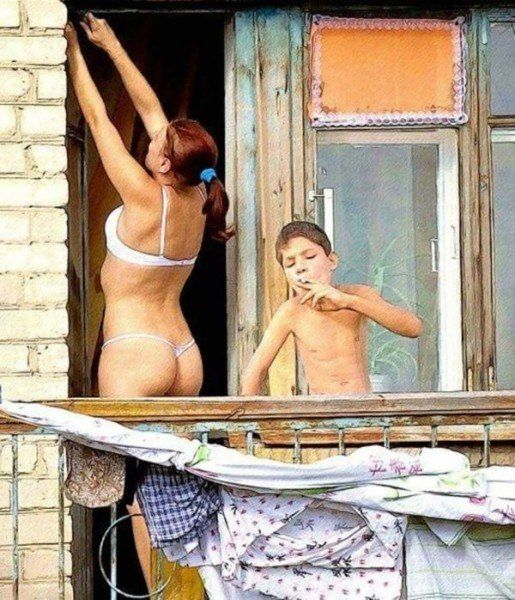 Мать и парень в душе