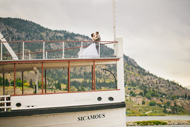 Bride and Groom on board the SS Sicamous (Penticton, BC) - Photo by Justine Russo