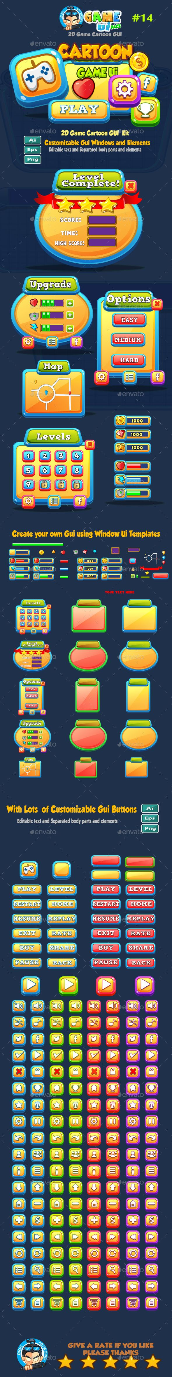 Cartoon Game UI Pack Design Template 14 - User Interfaces Game Assets Design Template Vector EPS, AI Illustrator. Download here: https://graphicriver.net/item/cartoon-game-ui-pack-14/18830140?ref=yinkira