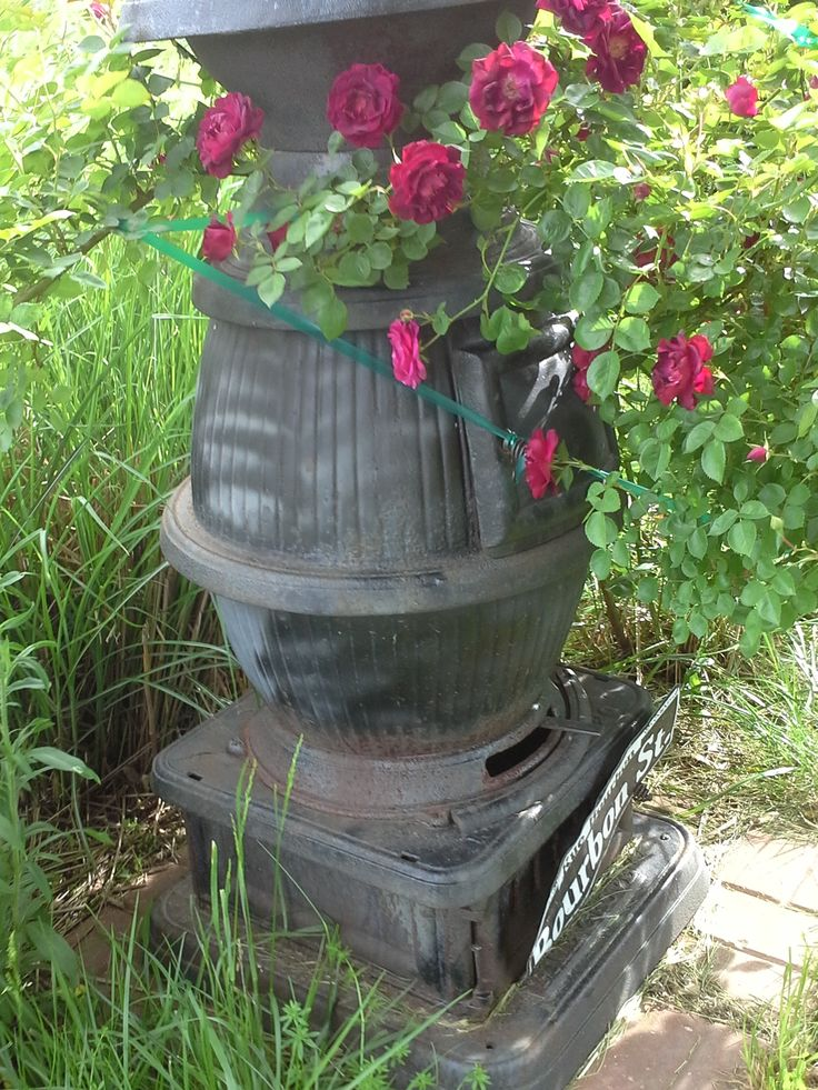 Pot Belly Stove Covered With Roses Rustic Gardens