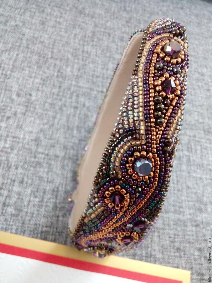 Купить Ободок вышитый бисером - комбинированный, ободок для волос, ободок из бисера, украшение для волос