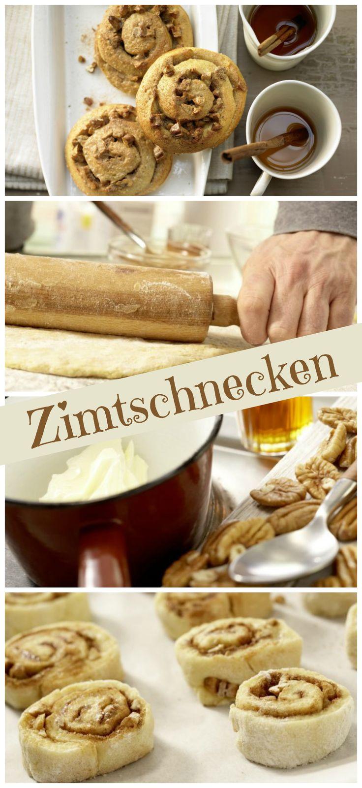Der Teig wird dünn mit Ahornsirup bepinselt und mit Nüssen sowie Zimtzucker bestreut: Zimtschnecken mit Pecannüssen | http://eatsmarter.de/rezepte/zimtschnecken