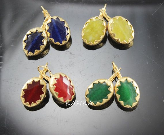 4 pair EARRINGS WHOLESALE DANGLE jade gemstones oval by KAFIKA