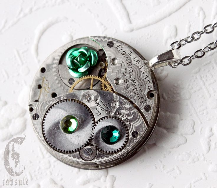 Steampunk Statement Necklace - Green Rose Elgin Guilloche Etch Antique Pocket Watch Movement with Green Emerald Swarovski Crystals  Gift by CapsuleCreations on Etsy