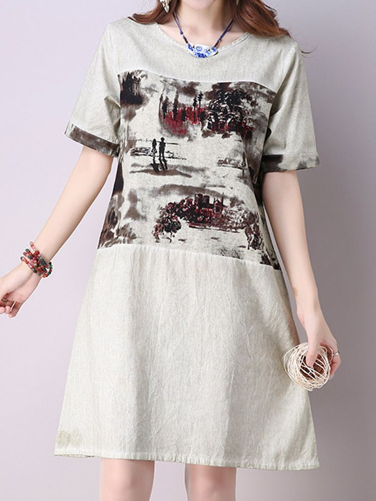 Scenery Print A Line Short Sleeve O Neck Women Dresses