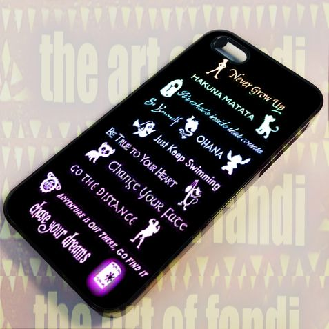 Disney Lessons Learned Mash-up For iPhone 5/5c/5s Black Rubber Case