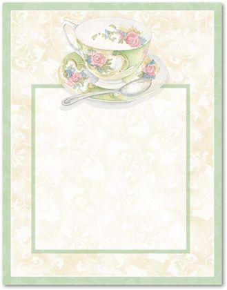 tea stationery green stationery stationery letterhead afternoon tea ...