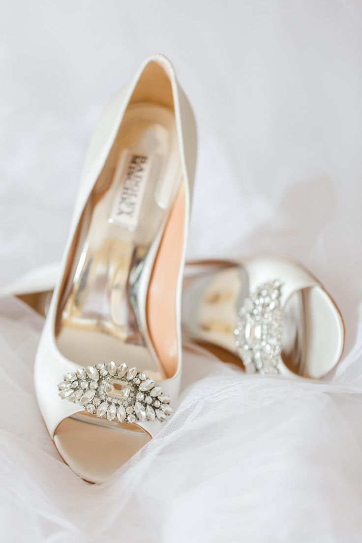 Badgley Mischka wedding shoes, peep-toe, crystals, white heels // Amy Allen Photography