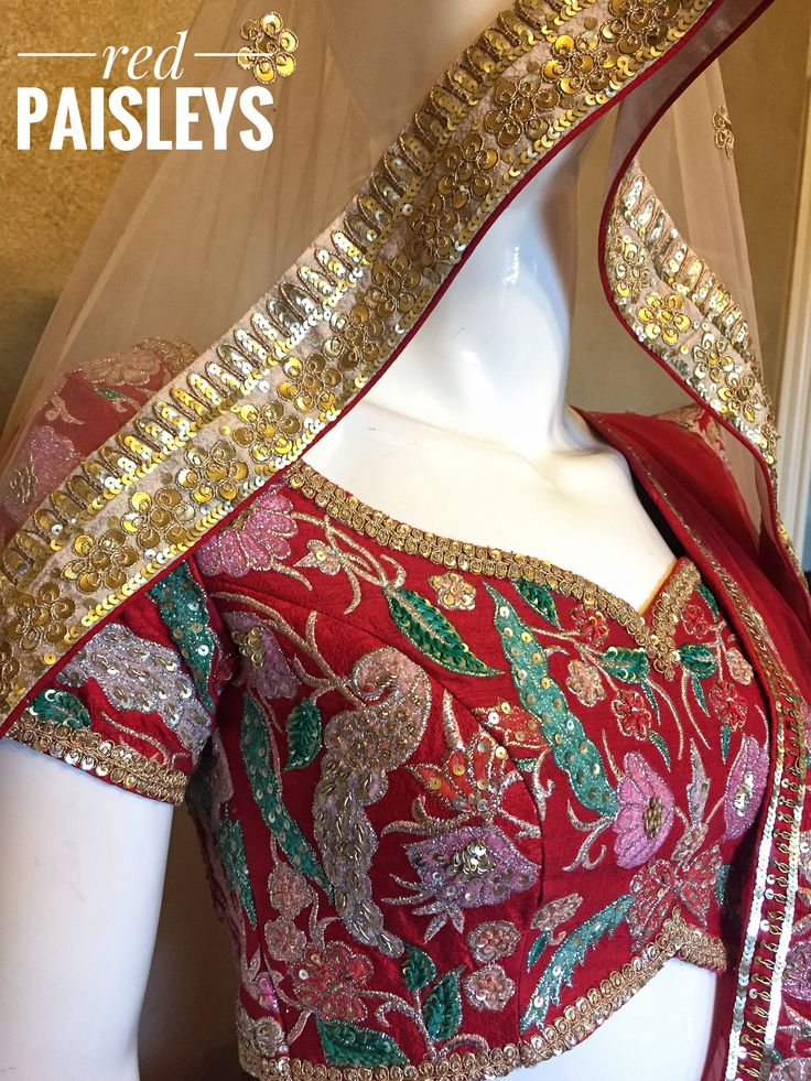 Red bridal lehenga choli. Sabyasachi design . For more details  info@redpaisleys.com or 469.248.7733