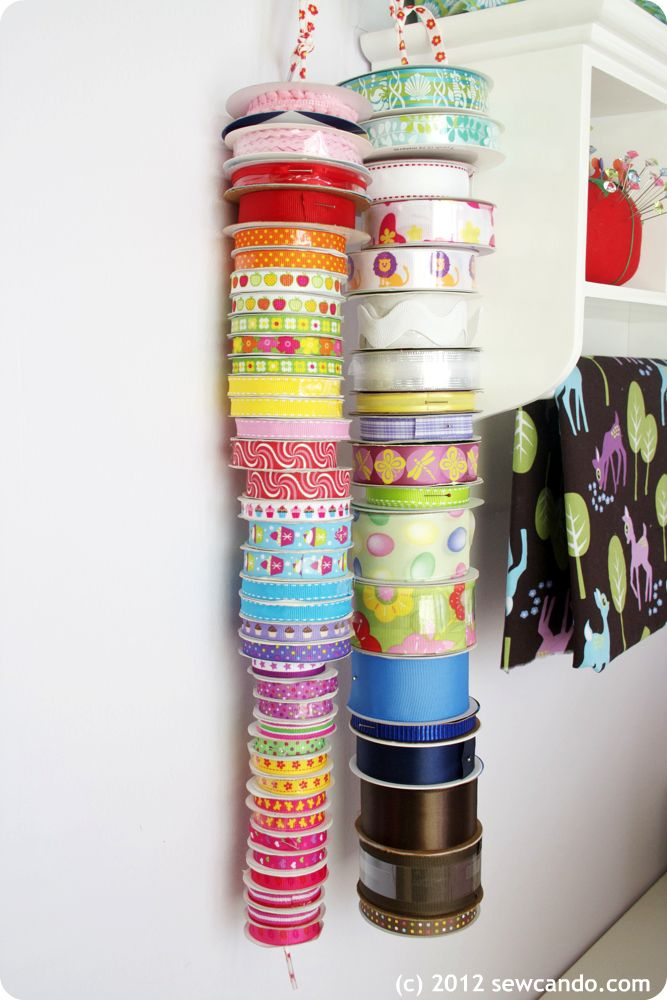 Courtesy of Sew Can Do:   Love the way the ribbon is displayed!  this would work...!