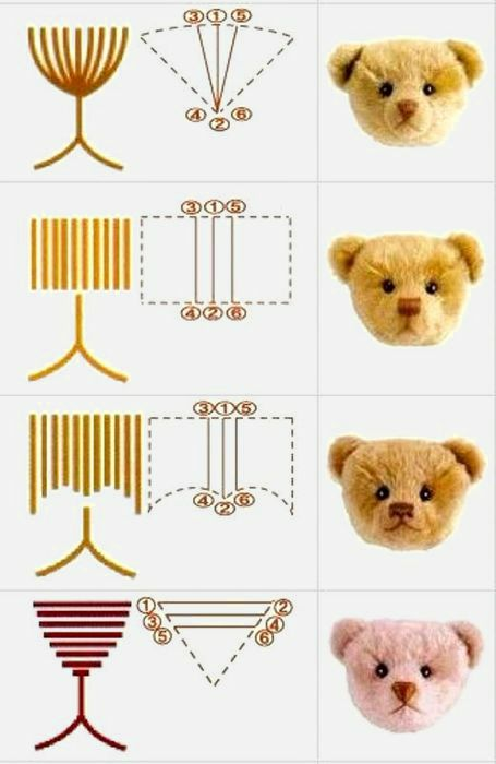 Variants of a teddy bear nose embroidery