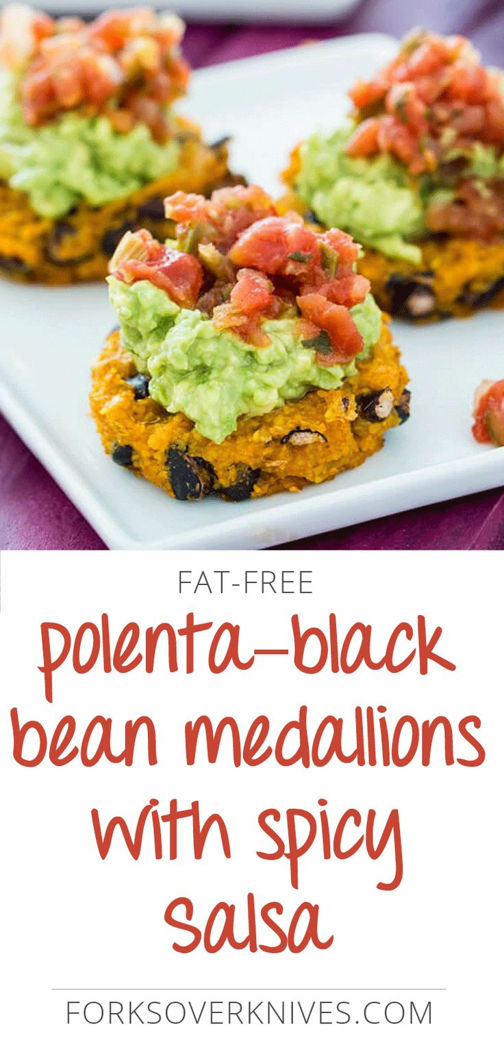 Topped with salsa and guacamole, this vegan polenta and black bean medallions recipe makes a delicious appetizer or side dish.