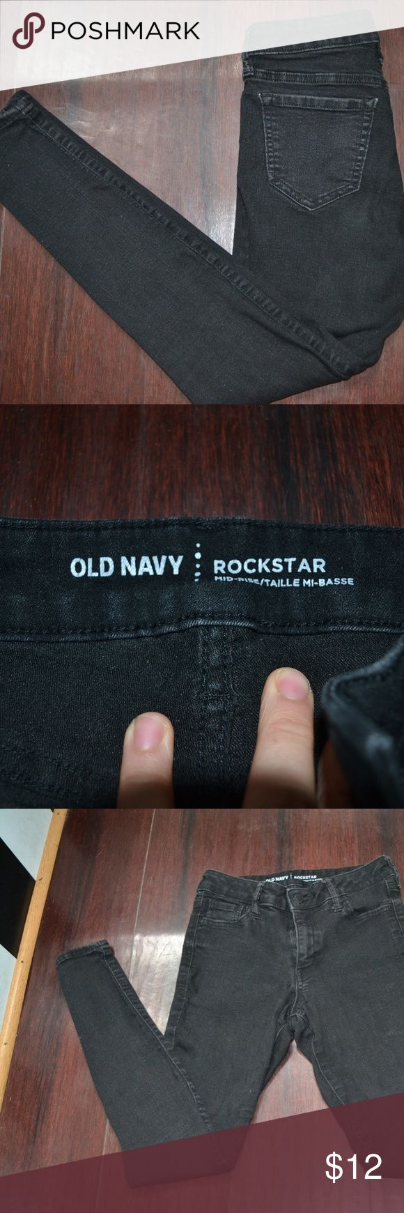 Rockstar Black Jeans size 4P Old Navy Rockstar mid-rise black skinny jeans. Size 4P, excellent condition! Old Navy Jeans Skinny