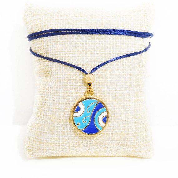 greek jewelry macrame necklace evil eye by christelboutique