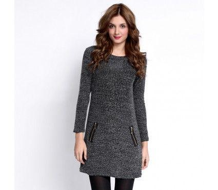 Autumn/Winter 2014 | FULLAHSUGAH TWEED KNITTED ZIP DRESS | €24.90 | 3418105720 | http://fullahsugah.gr